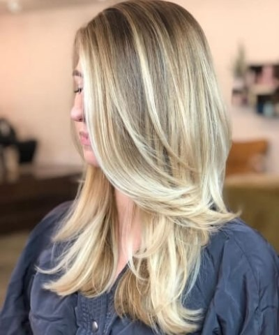 Shoulder length layer hair cut